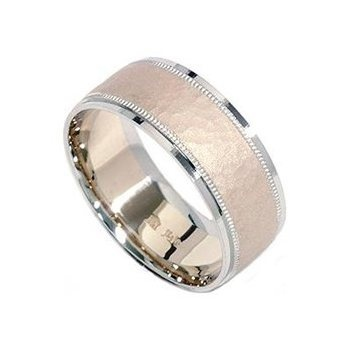 Mens Hammered White Yellow Gold Two Tone Brushed Wedding Ring Band Size