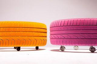 Originales y coloridos taburetes elaborados con neumáticos usados.