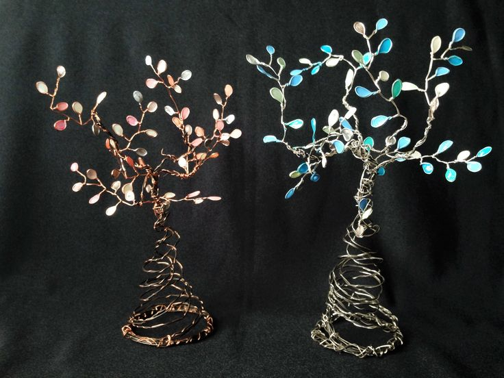 Trees made from nail polish and wire