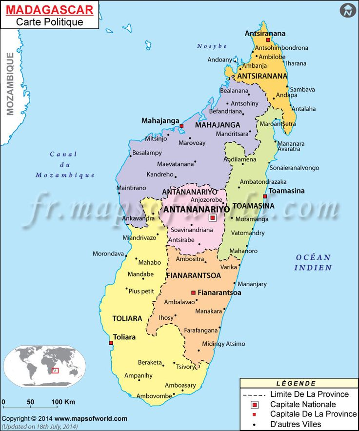 Carte du Madagascar (Map of #Madagascar) #MapsInFrench #CarteduMonde