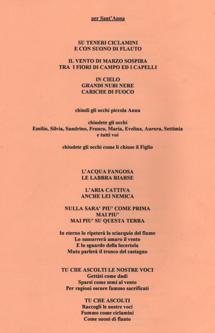 """Poesie per la mostra """"Il Sonno della Ragione"""": """"per Sant'Anna"""", settembre 2000, versi inseriti ne """"Il totem della memoria""""."""