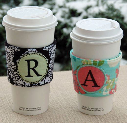 In the Hoop Monogram Coffee Sleeves Set Machine Embroidery Design Files created by EmbroideryGarden.com