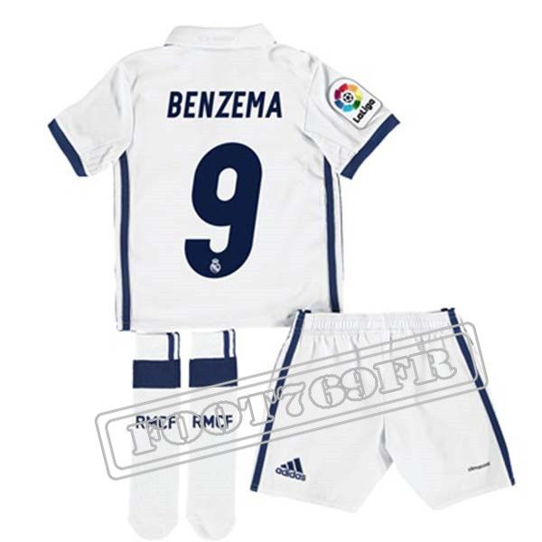 Personnalise Maillot De Benzema 9 Real Madrid Enfant Blanc 2016 17 Domicile : La Liga