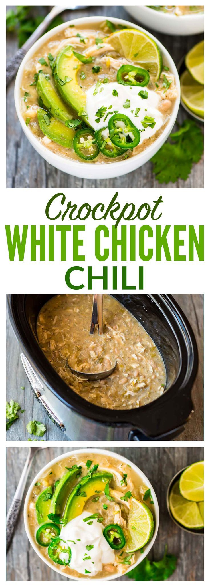 Crockpot White Chicken Chili. Not too spicy with TONS of flavor. Healthy, easy recipe and your slow cooker does all the work! Recipe at wellplated.com | @wellplated