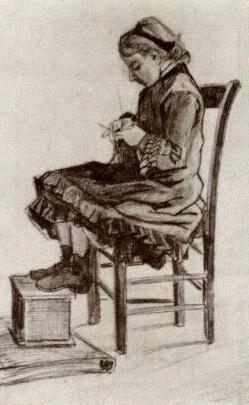 Van Gogh, Girl Sitting, Knitting, 1882