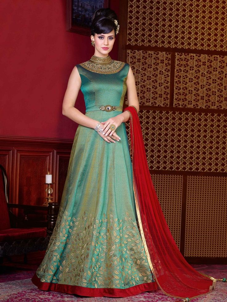 Green Silk Floor Length Anarkali Suit with Embroidery Work
