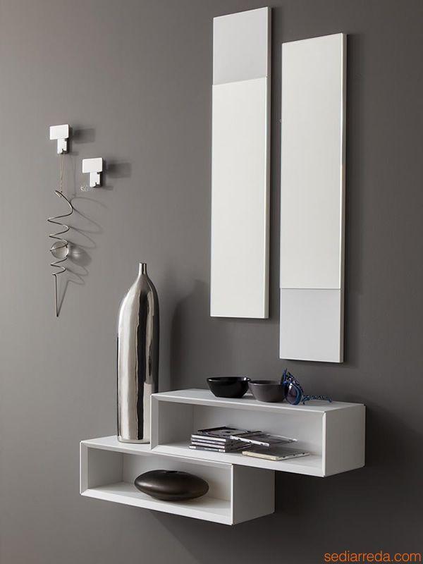 PA604 | Ensemble meuble entrée en blanc opaque, crochets chromé modèle 2505 (code D)