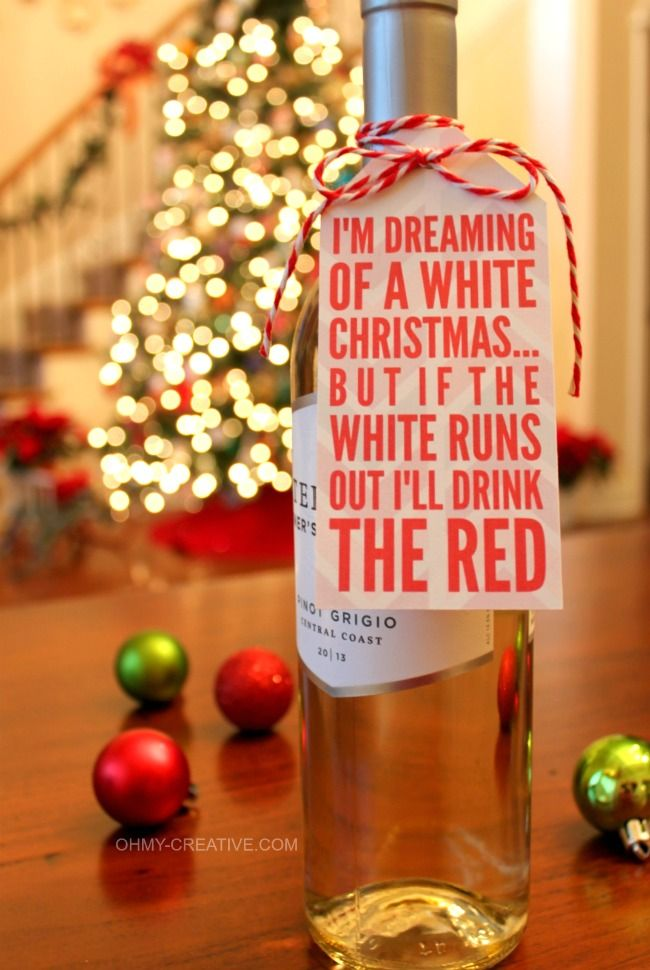 This Two Sided Free Printable Wine Bottle Gift Tag sure to bring a smile to the hostess!  |  OHMY-CREATIVE.COM