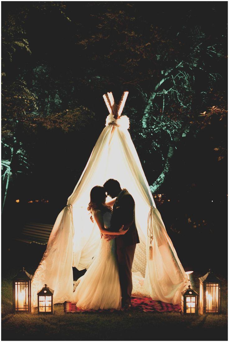 www.vanillaphotography.co.za Nooitgedacht Wine Estate | Cape Town, Wedding venue, Cape Town wedding photographer, outdoor wedding decor, teepee, bride & groom, kiss, night shot