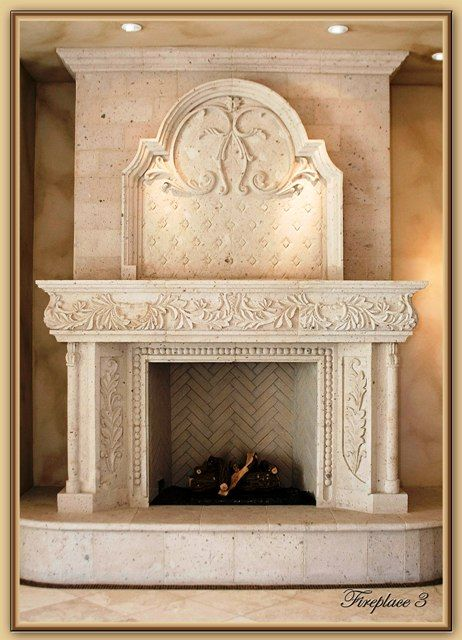 Cantera stone mantel google search fireplace - Molduras para chimeneas ...