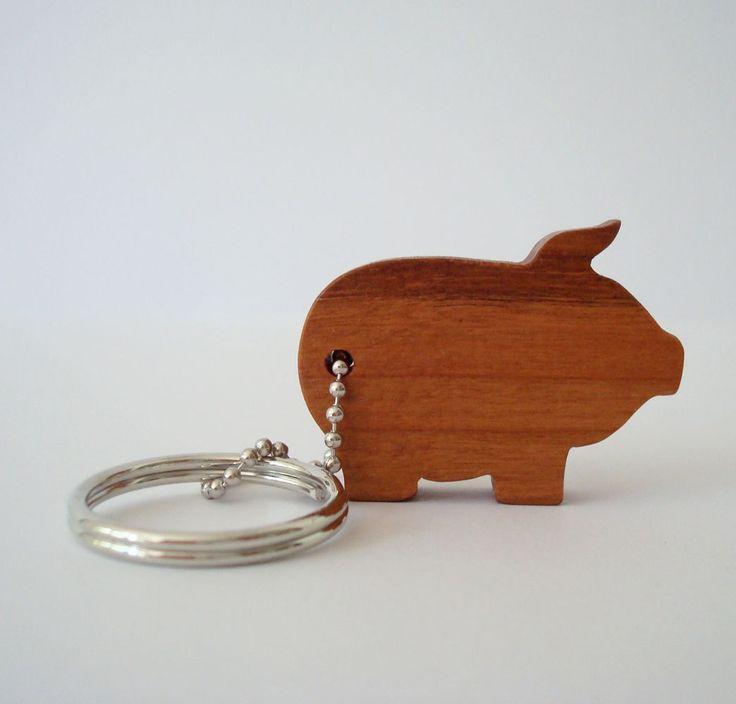 Pig Key Chain Wood Scroll Saw Outline  Keychain. $6.50, via Etsy.