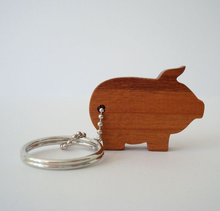 Pig Silhouette Outline Key Chain Wood Scroll Saw Country