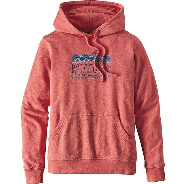 Patagonia Women's Femme Fitz Roy Lightweight Hoody ($69) ❤ liked on Polyvore featuring tops, hoodies, spiced coral, hoodie pullover, light weight hoodie, lightweight hoodies, lightweight hoodie and patagonia hoodie