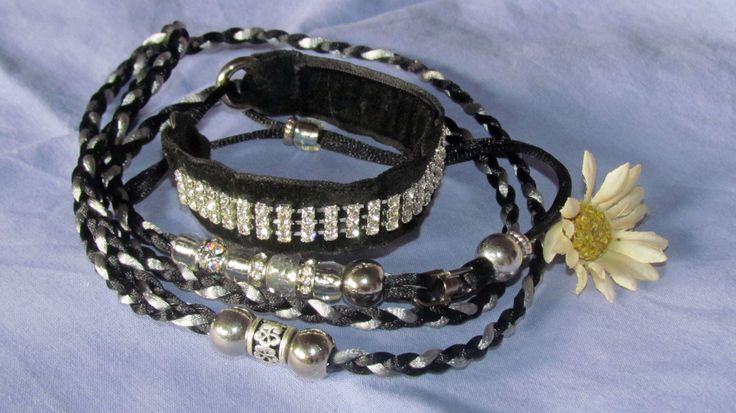 Bling, on black velvet, martingale, with black and silver satin cord.R200