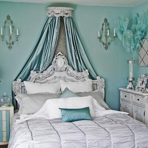 Aqua Boudoir...hmmm...the walls of the place we might buy are already this color...what a great scheme!