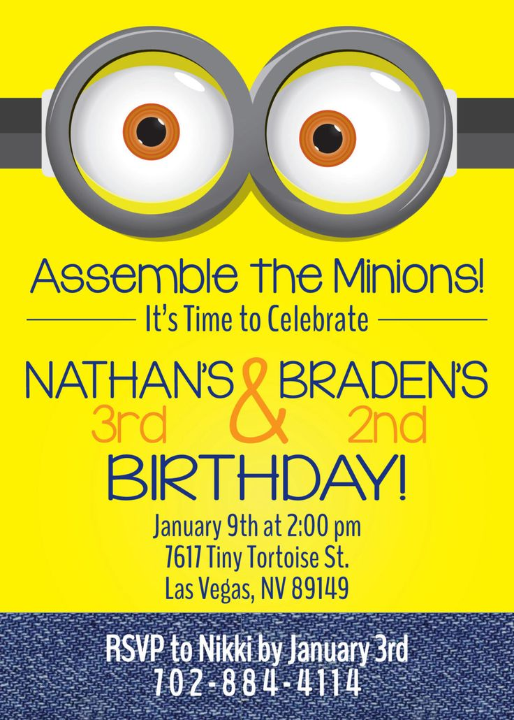 Minion Birthday Invitation by BlueOrchidDesignsLV on Etsy https://www.etsy.com/listing/487882677/minion-birthday-invitation  Kids | Party | Despicable Me | Minions | Toddler | Twins | Son | Daughter