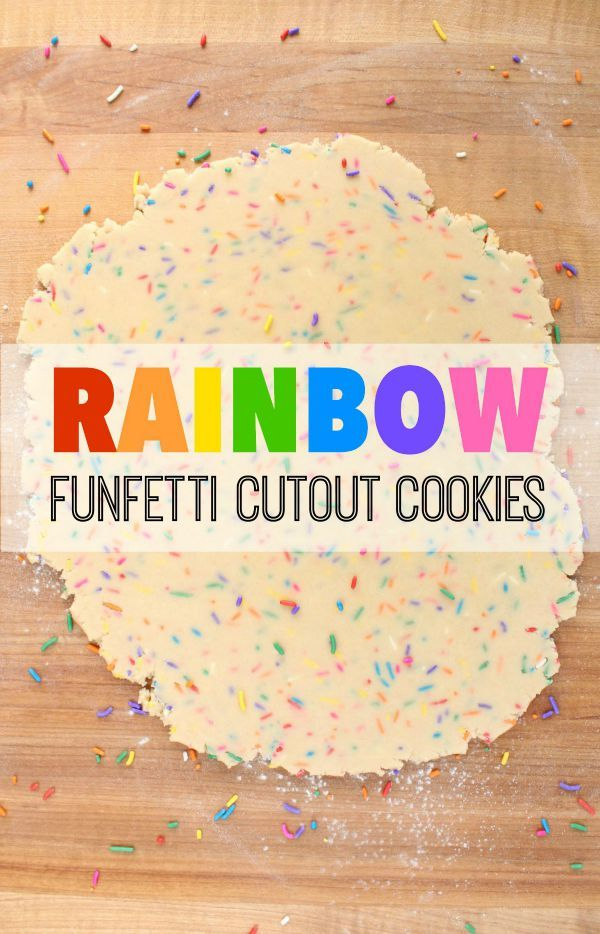 Bright and pretty rainbow funfetti cutout cookie recipe via Sweetsugarbelle.com
