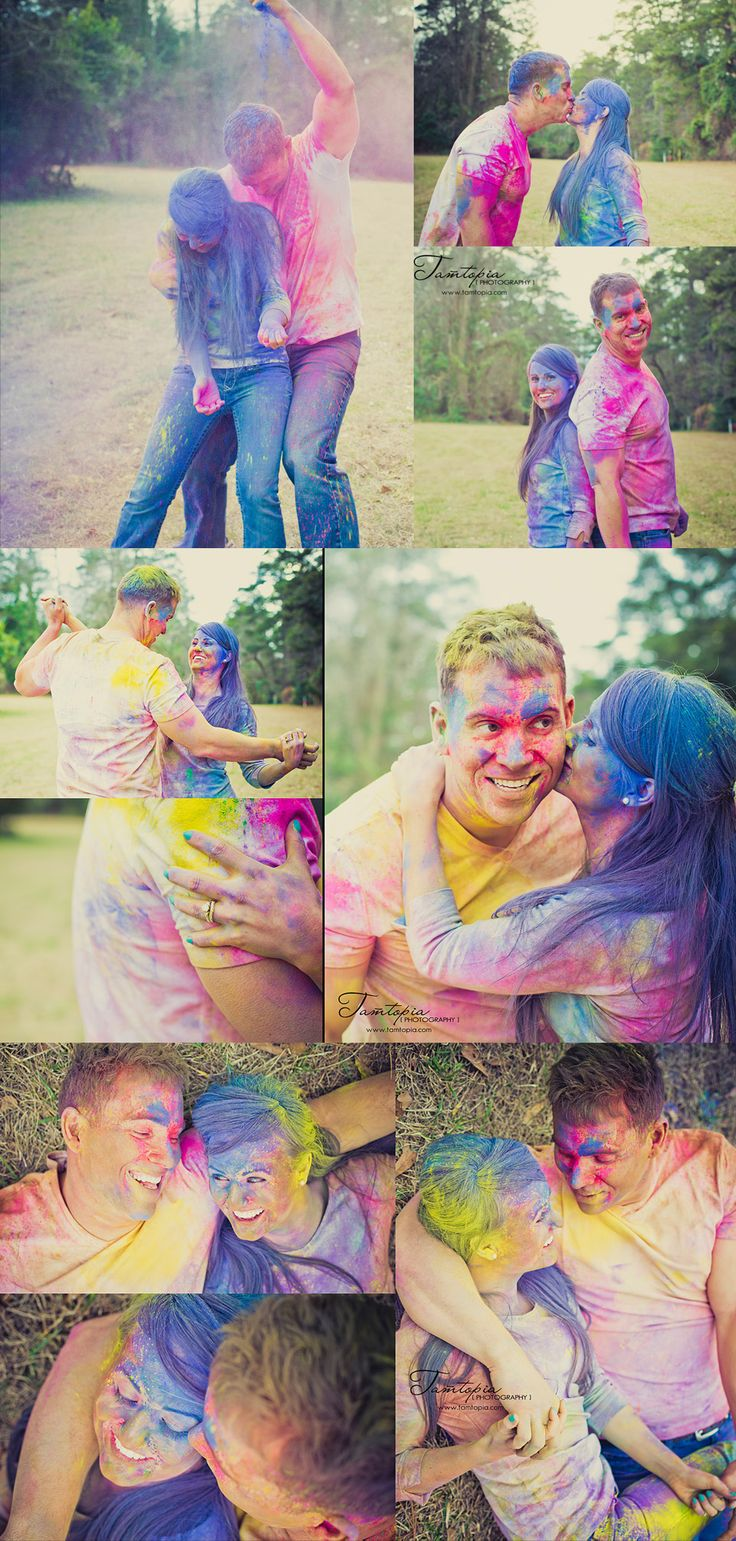 Awesome holi powder couples photo shoto! All that bright color <3      www.tamtopia.com