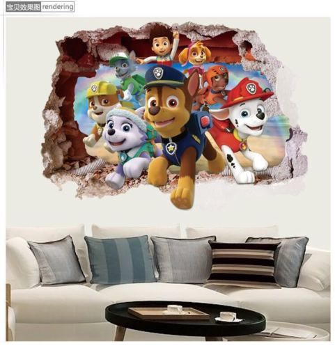 Paw-Patrol-Ryder-Rubble-Breakthrough-Wall-Decals-3D-Stickers-Kids-Decor-DIY-III