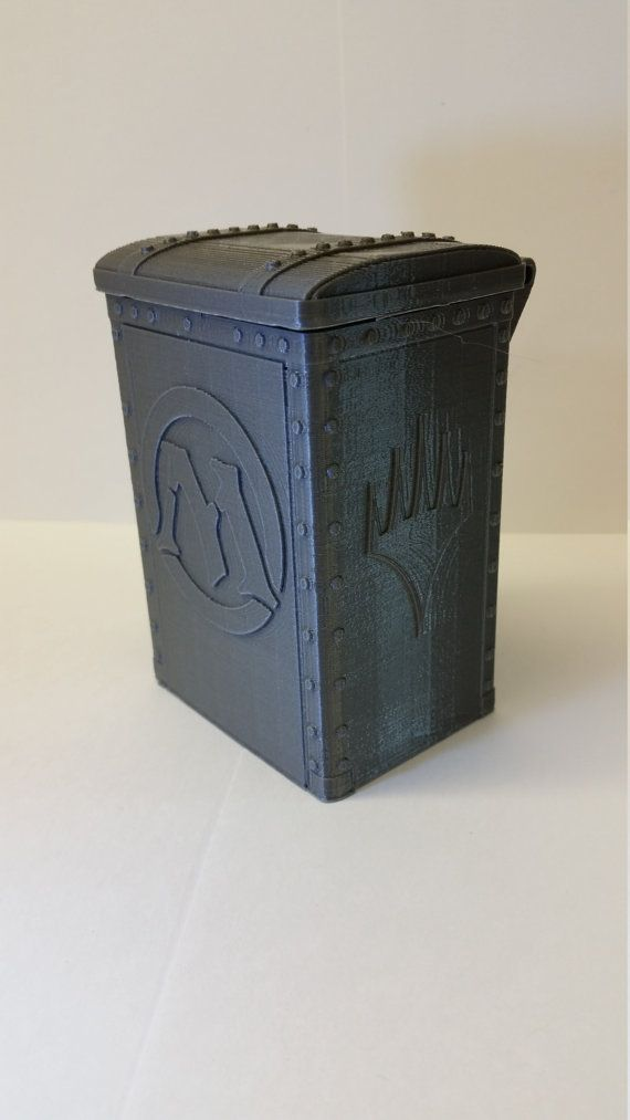 MTG Deck box top loading with magnetic closure. There are 3 possible sizes, Standard, Medium (Can accommodate soft card sleeves), and Large (Can accommodate rigid 3x4 plastic sleeves). Options available with mana symbols instead of plainswalker symbol on the side or front. Please contact me if you desire something custom and I will do my best to make it work.