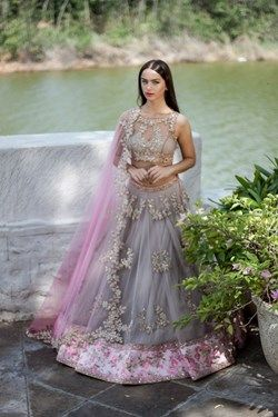 Buy A miabella lehenga in grey and pink with net overlay adorned intricate floral zardosi work Onlin