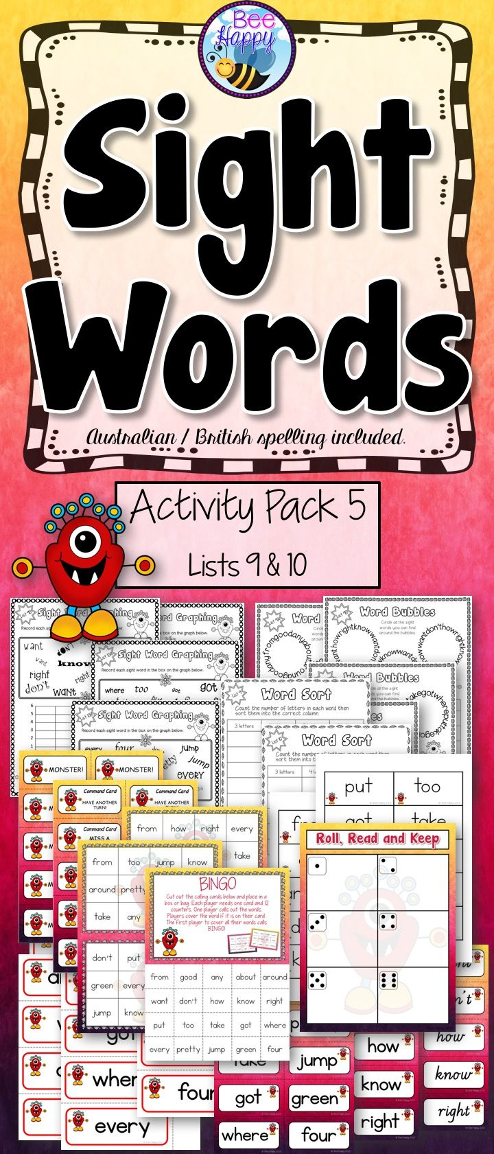 This resource is packed full of worksheets and activities designed to teach, consolidate and review the fifth group of twenty sight words a child needs to learn to become a successful reader. The words included in this package are: from, good, any, about, around, want, don't, how, know, right, put, too, take, got, where, every, pretty, jump, green, four.