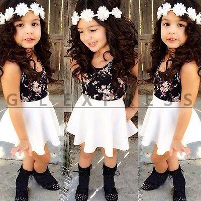 Дешевое 2015 Hot Sell Baby Kids Girls Dress Flower T Shirt+Skirt A Line Dress Suit 2 8Y, Купить Качество Комплекты одежды непосредственно из китайских фирмах-поставщиках:  Description2015 Newest Fashion Baby Girls Dress !!High quality and Brand new 100%