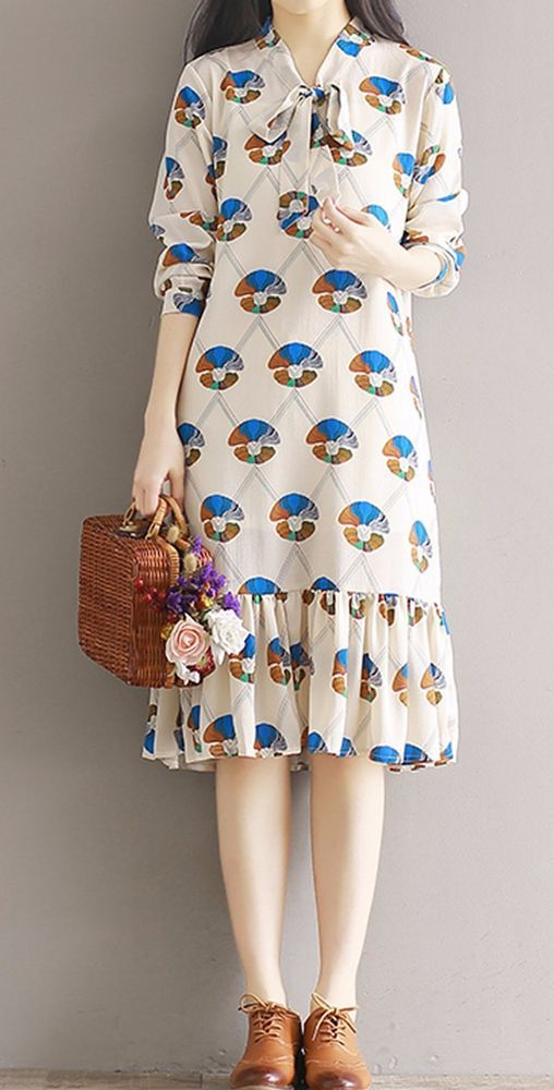 Women loose fit over plus size retro flower bow ribbon collar dress tunic chic #Unbranded #dress #Casual