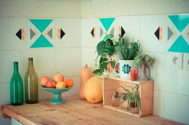 Stickers amovibles carrelage cuisine salle de bains etc for Credence cuisine amovible