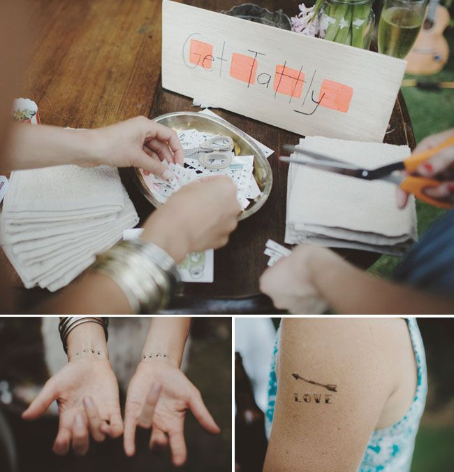 Wedding activity: DIY temporary tattoos by Tattly - Backyard Picnic Wedding in Perth, Western Australia Arlene + Jake captured by Samm Blake - via greenweddingshoes