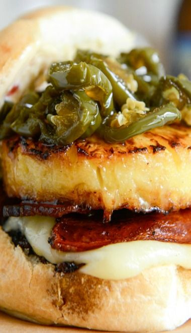 Bacon Pineapple Burgers with Candied Jalepenos and Sweet Chili Mayo ...
