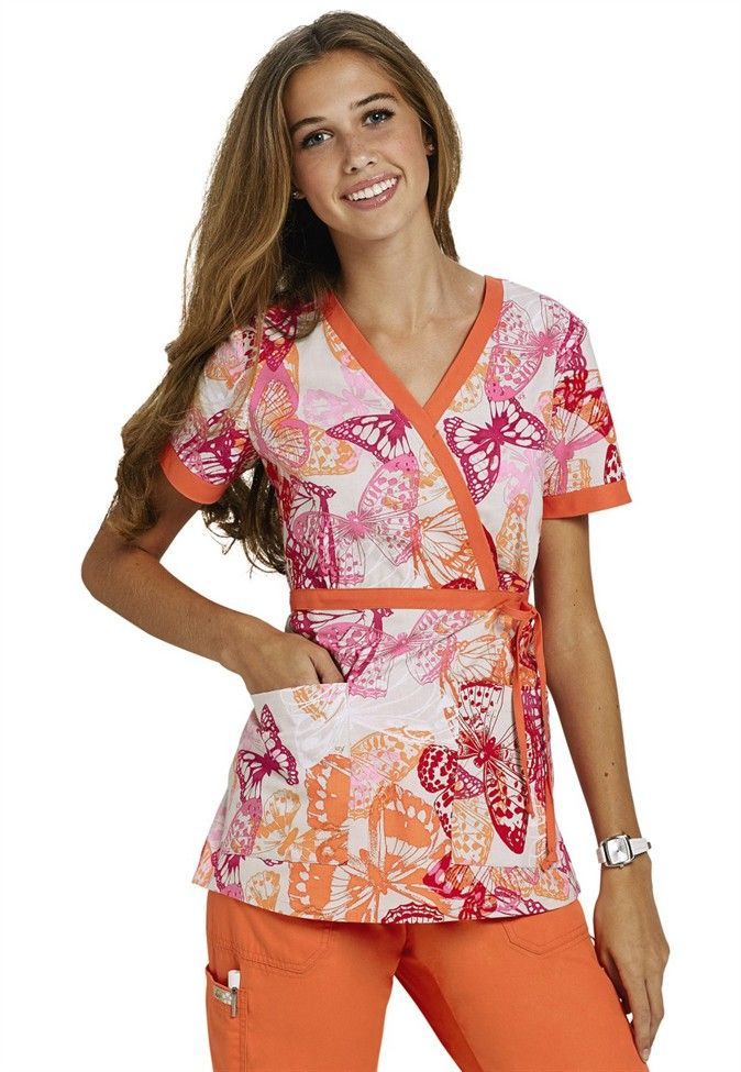 Koi Kathryn Butterfly Melody mock wrap print scrub top. - Scrubs and Beyond