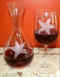 Starfish wine glasses and carafe