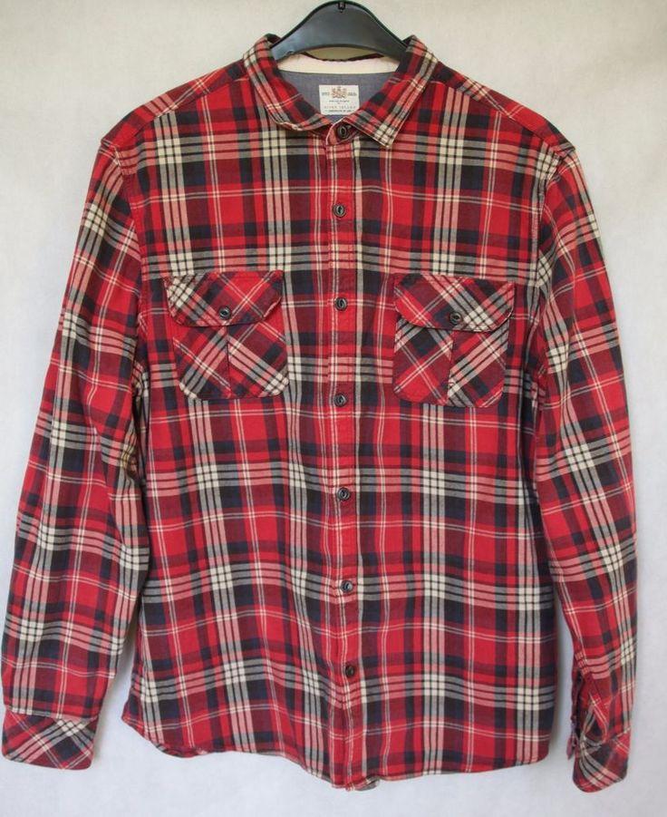 MEN'S RIVER ISLAND LUMBERJACK STYLE RED CHECK THICK COTTON SHIRT sz XL  #RiverIsland #CasualShirts