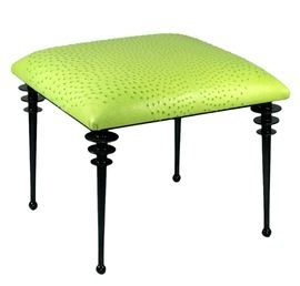 Vienne  Collection  MidCentury  Modern, Transitional, Upholstery  Fabric, Metal, Leather, Stool by Bourgeois Boheme