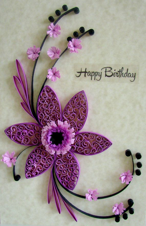 A beautiful quilled birthday card with quilling flowers in shades of purple, perfect for sending special birthday greetings to a special person!  Every paper strip in this card is carefully hand rolled to create this beautiful work.  cards are made in a smoke-free home.  I will always let you know when the card are ready and when they have been sent.  Feel free to contact me if you have any questions.  Thank you for visiting my shop :)