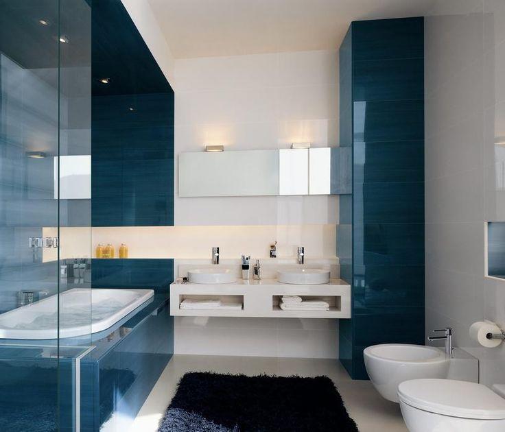17 meilleures id es propos de salle de bain minimaliste sur pinterest design contemporain for Idee deco salle de bain bleu et blanc