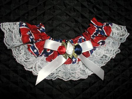 Rebel flag wedding garter with red white and blue roses for Rebel flag wedding dresses
