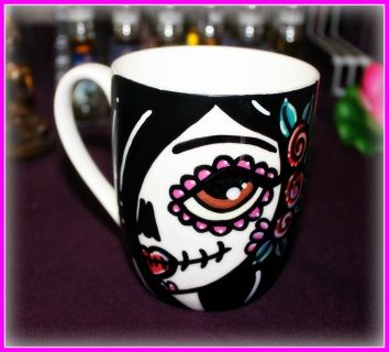 Hand Painted and Heat Cured Ceramic Mug    A colourful addition to your morning routine! You can drink any hot or cold beverage you'd like in it!    Hand wash with soft sponge to ensure long lasting artwork. Please do not use any abrasives.