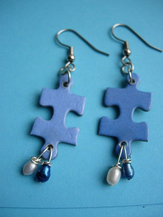 I'm Puzzled dangle earrings using recycled puzzle by 2busybroads, $5.00