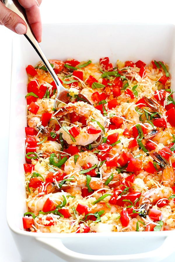 This Bruschetta Baked Shrimp recipe is ready to go in less than 25 minutes, topped with garlicky breadcrumbs and all of the delicious flavors of fresh bruschetta. | gimmesomeoven.com