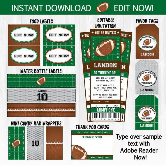 Football Invitations Football Ticket Invitations plus Party $7.99 #FootballInvitation #FootballPartyInvitation #FootballBirthdayInvitations