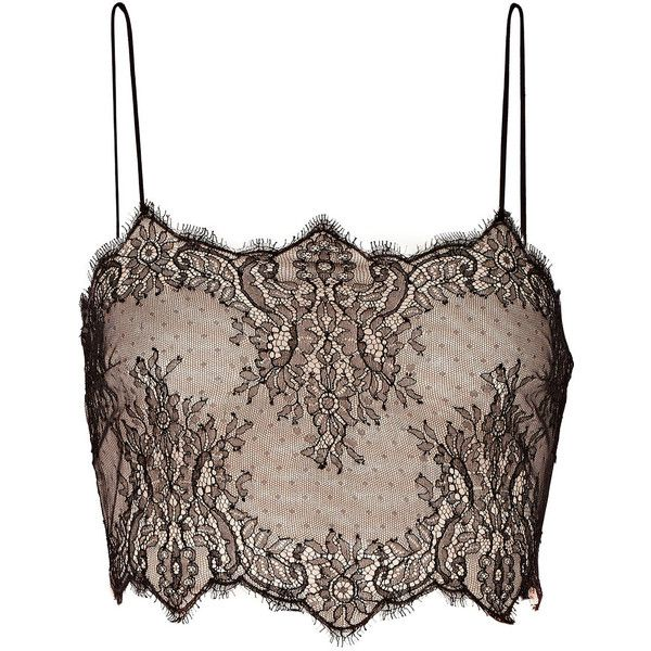 Cropped silk-lace and stretch-mesh top found on Polyvore