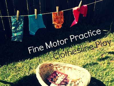 Clothesline Play: Fine Motor PracticeIdeas, Motors Practice, Skills Practice, Fine Motor Skills, Fine Motors, Clotheslines Plays, Beautiful, Outdoor Plays, Motors Skills
