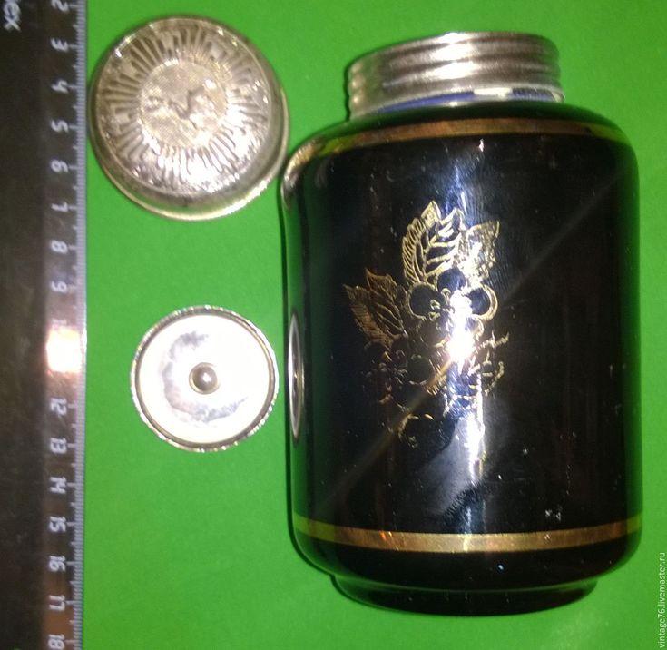 Купить Чайница. Кобальтовое стекло с золотым орнаментом. Антиквариат. Диаметр - тёмно-синий, чайница винтажная