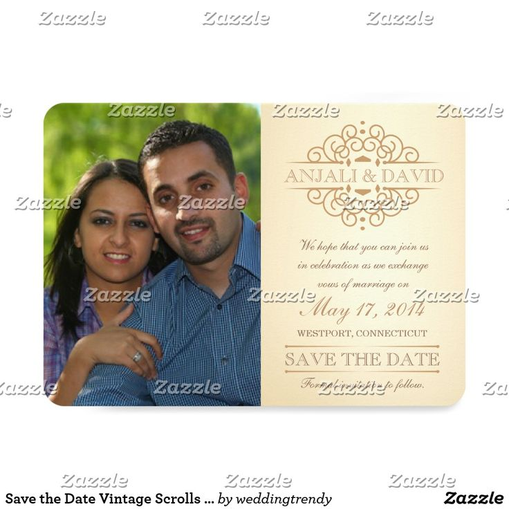 Save the Date Vintage Scrolls with Photo Card Formal Save the Date -- Engagement photo announcements. Beautiful vintage scroll design influenced by the 19th century regency era of Queen Victoria. Tea-stained ivory background with antique gold accents. Just add your names and details on this inexpensive, easy to use template to create your own unique eye-catching standout wedding invitation set. Elegant and classy bespoke style letterpress engraved-look retro typography with script…