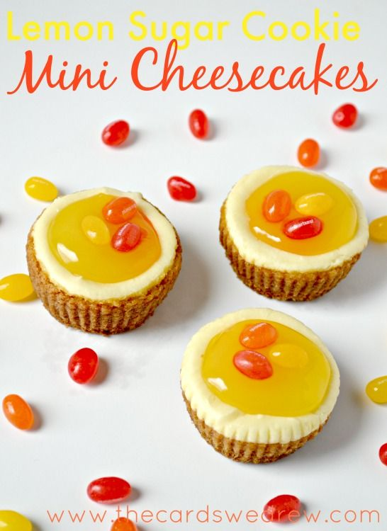 Lemon Sugar Cookie Mini Cheesecakes from www.thecardswedrew.com