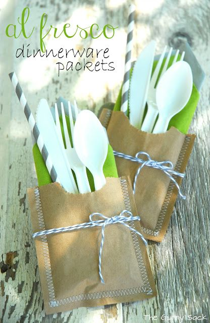 Al Fresco Dinnerware Picnic Packets made with brown paper bags