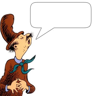 Clip art of many different characters from Dr. Seuss where you can insert your own text.