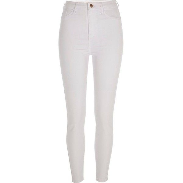 River Island White Harper super skinny jeans ($40) ❤ liked on Polyvore featuring jeans, pants, bottoms, white, sale, vacation shop, women, tall skinny jeans, skinny leg jeans and zipper skinny jeans